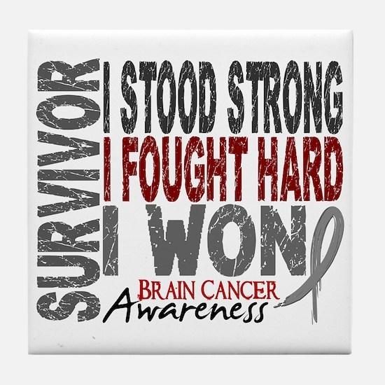 Survivor 4 Brain Cancer Shirts and Gifts Tile Coas