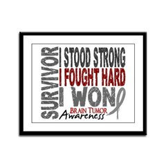 Survivor 4 Brain Tumor Shirts and Gifts Framed Pan