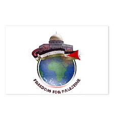 Palestine flag globe Postcards (Package of 8)