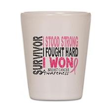 Survivor 4 Breast Cancer Shirts and Gifts Shot Gla