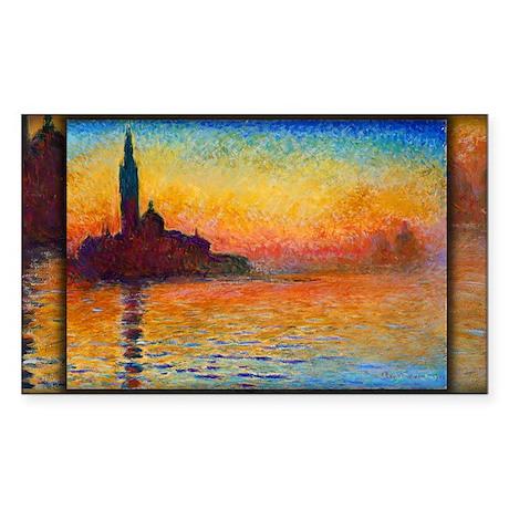 San Giorgio Maggiore at Dusk, Monet, Sticker (Rect