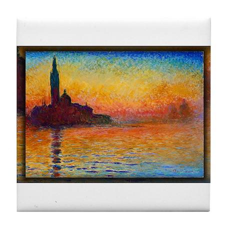 San Giorgio Maggiore at Dusk, Monet, Tile Coaster