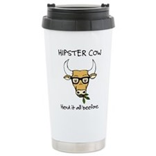 Hipster Cow Travel Mug