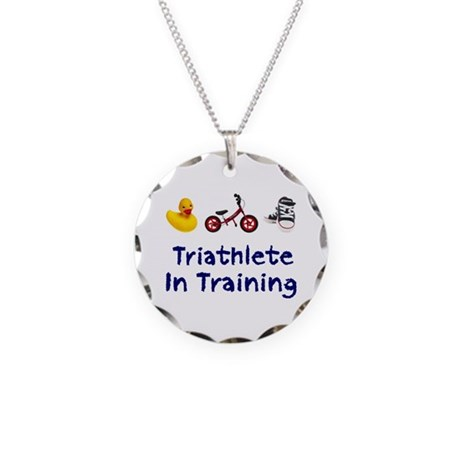 Triathlete in Training Necklace Circle Charm