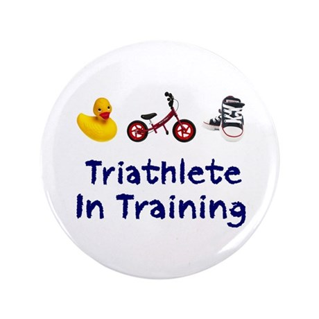 "Triathlete in Training 3.5"" Button"