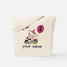 2nd Birthday Girl Cow Tote Bag