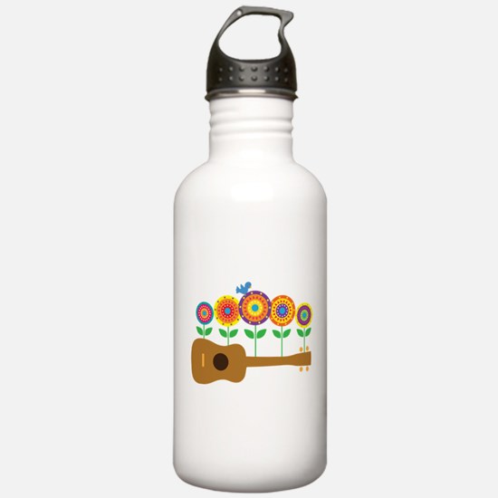Ukulele Flowers Water Bottle