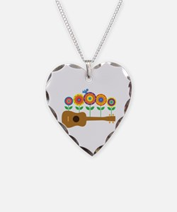 Ukulele Flowers Necklace Heart Charm