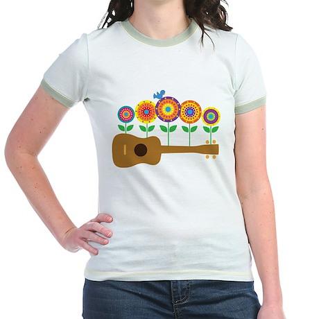 Ukulele Flowers Jr. Ringer T-Shirt