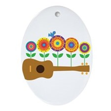 Ukulele Flowers Ornament (Oval)