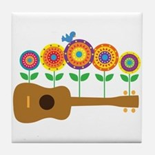 Ukulele Flowers Tile Coaster