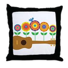 Ukulele Flowers Throw Pillow