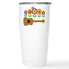 Ukulele Flowers Travel Coffee Mug