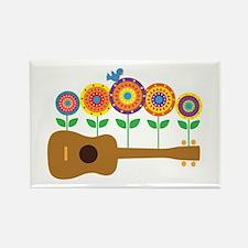 Ukulele Flowers Rectangle Magnet (10 pack)