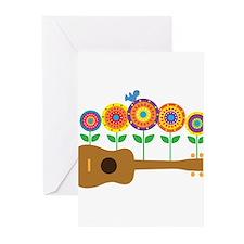 Ukulele Flowers Greeting Cards (Pk of 10)