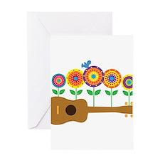Ukulele Flowers Greeting Card