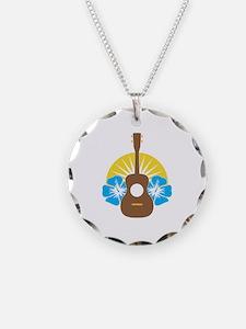 Ukulele Hibiscus Necklace Circle Charm