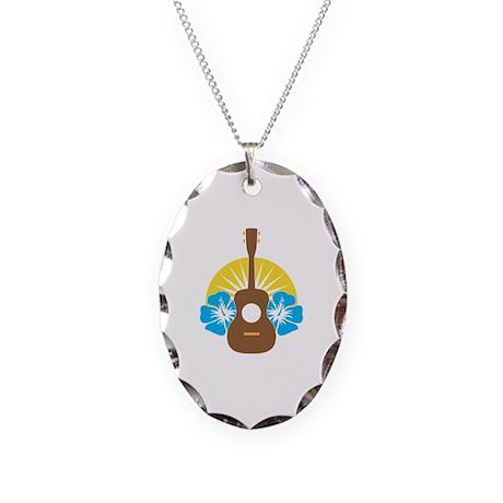 Ukulele Hibiscus Necklace Oval Charm