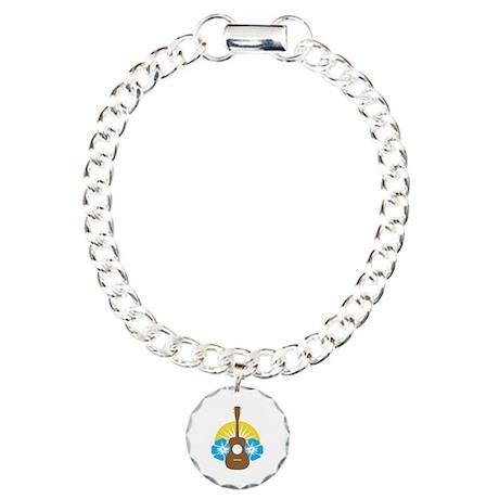 Ukulele Hibiscus Charm Bracelet, One Charm