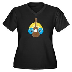 Ukulele Hibiscus Women's Plus Size V-Neck Dark T-S