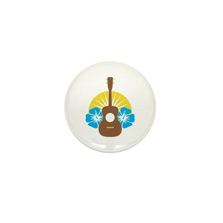 Ukulele Hibiscus Mini Button (10 pack)