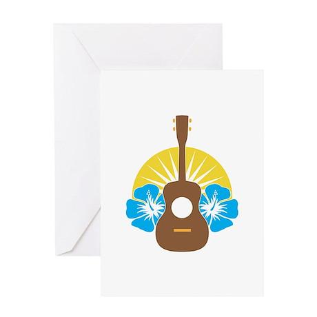 Ukulele Hibiscus Greeting Card