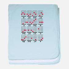 Uke Chord Cheat White baby blanket