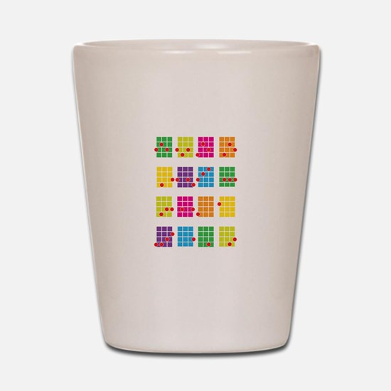 Uke Chords Colourful Shot Glass