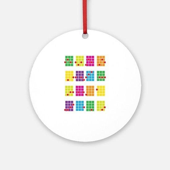 Uke Chords Colourful Ornament (Round)