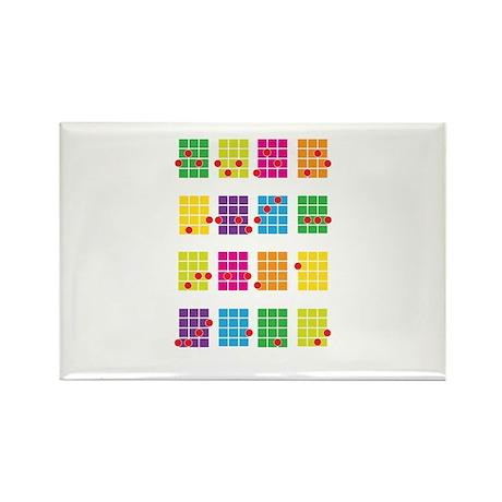 Uke Chords Colourful Rectangle Magnet (10 pack)