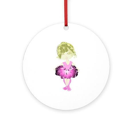 Cute Pink Ballet Dancer Art Ornament (Round)