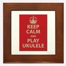 Keep Calm and Play Ukulele Framed Tile