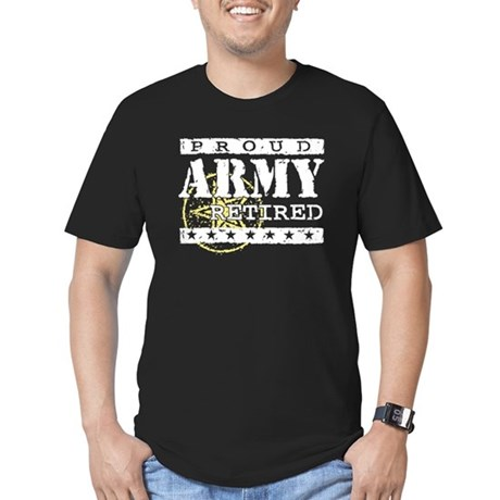 Proud Army Retired Men's Fitted T-Shirt (dark)