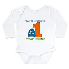 First Birthday Monster Long Sleeve Infant Bodysuit