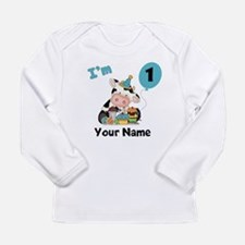 First Birthday Boy Cow Long Sleeve Infant T-Shirt