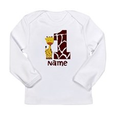 First Birthday Giraffe Long Sleeve Infant T-Shirt