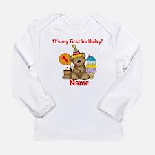 First Birthday Bear Long Sleeve Infant T-Shirt