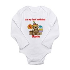 First Birthday Bear Long Sleeve Infant Bodysuit