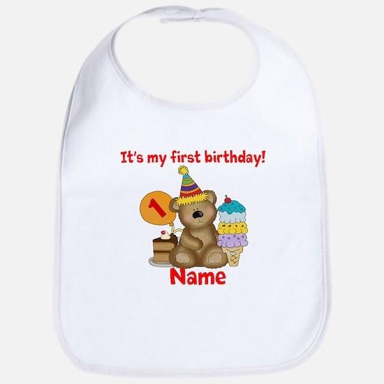 First Birthday Bear Bib