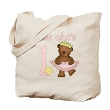 First Birthday Ballet Bear Tote Bag