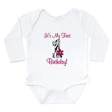 First Birthday Zebra Long Sleeve Infant Bodysuit