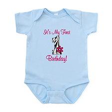 First Birthday Zebra Infant Bodysuit