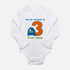 3rd Birthday Monster Long Sleeve Infant Bodysuit