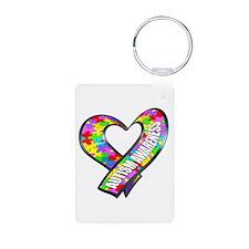 Puzzle Ribbon Heart Aluminum Photo Keychain