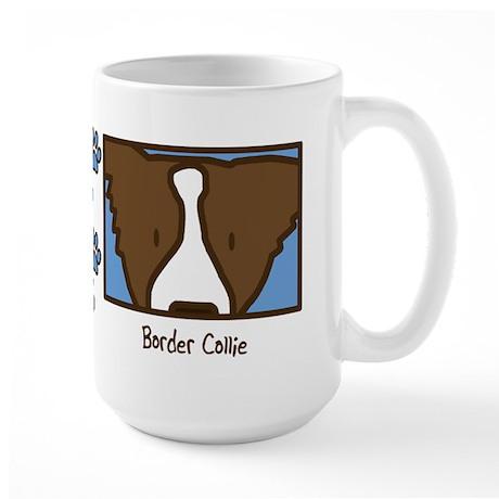 Anime Brown Border Collie Large Mug