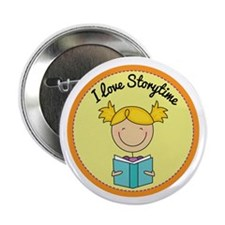 """Storytime Stick Figure Reading Kids 2.25"""" Button ("""