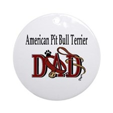 American Pit Bull Terrier Dad Ornament (Round)