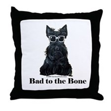 Scottie Bad to the Bone Throw Pillow