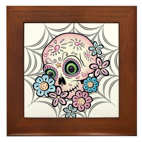Sweet Sugar Skull Framed Tile