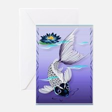 White Koi-Blue Lily Greeting Card